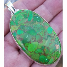 Green Copper Turquoise pendant oval