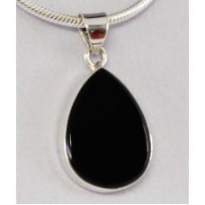 Onyx black pendant, drop flat