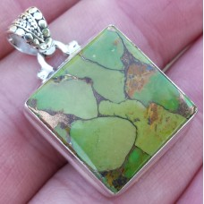Green Copper Turquoise pendant square