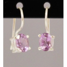 Amethyst, earrings oval, facetted