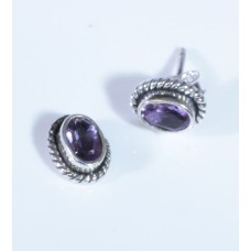Amethyst, earrings rond
