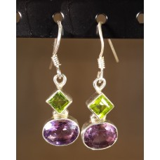 Amethyst, earrings triangular