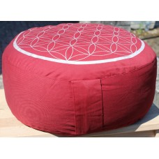 Meditation cushion, Flower of Life - red / silver