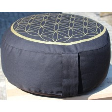 Meditation cushion, Flower of Life - black / gold