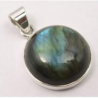 Labradorite pendant, round