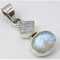 Rainbow Moonstone pendant, two stones