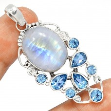 Moonstone pendant, Rainbow Moonstone and Blue Topaz