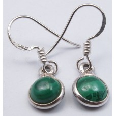 Malachite earrings, round