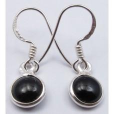 Black Onyx earrings, round