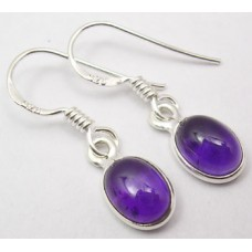 Amethyst earrings, oval
