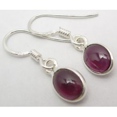 Garnet earrings, oval