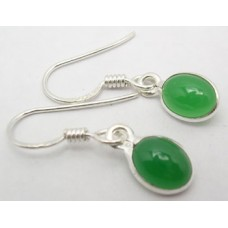 Green Onyx earrings, oval