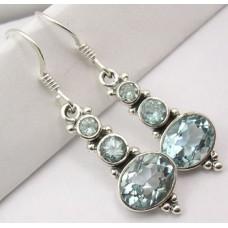 Blue Topaz earrings, three-stone