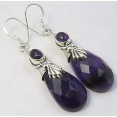Amethyst earrings, droplet