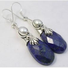 Lapis Lazuli / Sweetwater Pearl earrings, droplet
