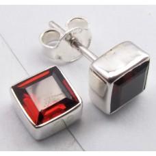 Garnet ear studs, square