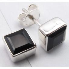 Black Onyx ear studs, square